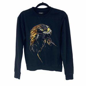 Zara Man Small Sweatshirt Crewneck Pullover Black